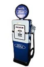 Sharp 1948 Ford dealership restored Bowser model 585 service department gas pump. - Front 3/4 - 184668