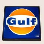 Choice Gulf Oil single-sided light-up service station sign with logo. - Front 3/4 - 184822