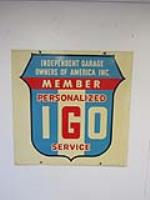 Very nice vintage Independent Garage Owners of America double-sided tin sign with logo. - Front 3/4 - 184839