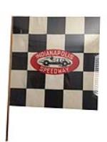 Uncommon 1950s Indianapolis Speedway souvenir checkered flag with period race car graphics. - Front 3/4 - 185212