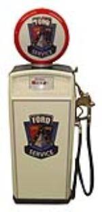 Addendum Item - Neat 1950's Ford Auto-dealership Gas Boy restored service department gas pump. - Front 3/4 - 185348
