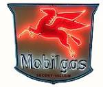 1940's Mobil service station shield shaped single-sided porcelain neon sign with Pegasus logo. - Front 3/4 - 185958