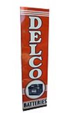 Sharp NOS 1954 Delco Batteries tin with wood framed back vertical automotive garage sign. - Front 3/4 - 186064