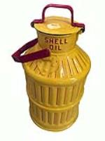 Large 1920s-30s embossed Shell Oil can with safety lid - Front 3/4 - 186324