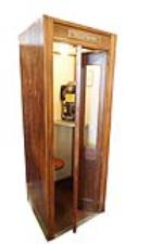 Stately 1930s Bell Telephone wooden phone booth - Front 3/4 - 187820