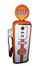 Gorgeous 1950s Gulf Oil Tokheim model #39 service station gas pump restored in Gulf GT-40 racing colors. - Front 3/4 - 187836