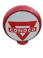 Choice circa 1950s Conoco Gasoline gas pump globe in a Capcolite body. - Front 3/4 - 187853