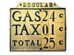 1920s metal and glass Gas Price Sign with changeable prices. - Front 3/4 - 188048