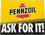"NOS Pennzoil ""Ask For It"" Motor Oil double-sided tin service station sign. Size: 24""x18"" - Front 3/4 - 188056"