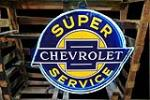 Stunning 1930s Chevrolet Super Service double-sided neon porcelain sign still in the original shipping crate. - Front 3/4 - 189876