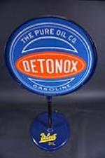 Scarce 1930s Pure Oil Detonox Gasoline double-sided porcelain curb sign. - Front 3/4 - 190890