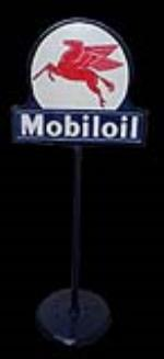 Impressive 1940s-50s Mobil Oil double-sided porcelain curb sign with Pegasus logo. - Front 3/4 - 192069