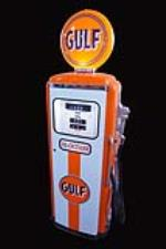 Fantastic 1960 Gulf Oil Tokheim model #300 service station gas pump - Front 3/4 - 192179