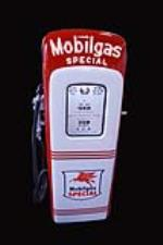 Superb late 1940's Mobil Gas Special lighted script top M&S 80 restored gas pump. - Front 3/4 - 192183