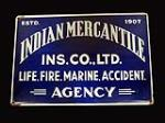 1930s Indian Mercantile Insurance Company single-sided porcelain sign. - Front 3/4 - 192440