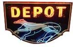 Lot #6394 Rare circa 1930s-40s single-sided neon porcelain Greyhound Depot neon sign.