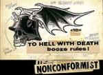 Ed 'Big Daddy' Roth 'To Hell With Death Booze Rules/Nonconformist' Original Pen and Ink Drawing, 1965. 26.50 x 15 cm. (10.34 x 5.85 in.) NO RESERVE. - Front 3/4 - 46353