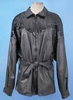 David Bowie stage worn leather jacket by Andre Van Pier. A black leather jacket with belted waist and sequined detail to shoulders, designed byVan Pier for Bowie and worn by him on stage. - 46471