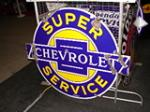 Circa 1930s-40s Super Chevrolet Service dbl-sided porcelain - Front 3/4 - 47126