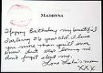 Madonna handwritten Happy Birthday Card and lipstick kiss. - Front 3/4 - 47149