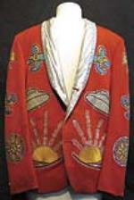 Keith Richards stage worn red Nudies suit, 1974. RESERVE - Front 3/4 - 47854
