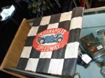 """1940s-50s Indianapolis Speedway souvenir """"Checkered Flag"""".  Exhibits wear.  Size 18""""x18"""" - Front 3/4 - 47981"""