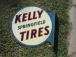 1930s Kelly Springfield Tires double-sided tin garage flange sign. - Front 3/4 - 48230