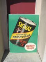 N.O.S. 1950s Signal Motor Oil station poster with can graphic. - Front 3/4 - 48233