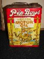 1940s Pep Boys Motor Oil two-gallon can with great graphics. - Front 3/4 - 48250