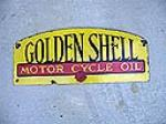 Unusual 1930s-40s Golden Shell Motor Oil double-sided porcelain station sign. - Front 3/4 - 48454