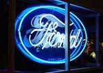 Wonderful 1930s Ford Automobilies single-sided neon porcelain dealership sign. - Front 3/4 - 50663