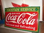 - Magnificent 1935 Coca-Cola Fountain Service porcelain general store-drug store sign. - Front 3/4 - 63105