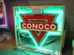 Hard to find 1930s Conoco Gasoline double-sided porcelain station neon station sign with hanger. - Front 3/4 - 65430