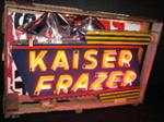 Magnificent 1940s - 50s Kaiser -Frazer dbl-sided porcelain neon dealership sign. - Front 3/4 - 70333