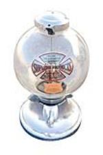 Very unusual 1930s Supreme Products 1 cent gumball machine with original chrome plating. - Front 3/4 - 72446