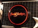 Killer Barrett-Jackson light-up garage sign.  Constructed from a hand formed aluminum body, powder coated and stellar glass ... - Front 3/4 - 74872