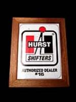 "Hard to find 1960s Hurst Shifters Authorized Dealer sign with mahogany frame. "" - Front 3/4 - 82465"