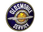 Impeccable 1950s Oldsmobile Service double-sided porcelain dealership sign in original hanging bracket. - Front 3/4 - 82489