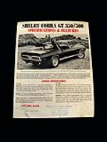 Original 1968 Cobra GT-350 double-sided single page showroom specification sheet. - Front 3/4 - 82511