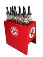 Outstanding 1940s restored Texaco service station fuel island oil bottle rack stand with 10 glass bottles. - Front 3/4 - 82558