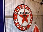 Reproduction Texaco Motor Oil double-sided porcelain service station sign. - Front 3/4 - 91580