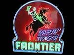 "Museum quality 1940s Frontier ""Rarin To Go"" Gasoline single-sided porcelan neon service station sign with horse and rider gr... - Front 3/4 - 91660"