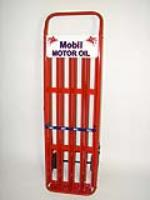 Professionally restored 1940s-1950s Mobil Oil service station oil can rack cart. - Front 3/4 - 93910