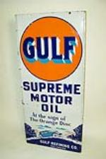 Extremely hard to find early 1930s Gulf Supreme Motor Oil single-sided porcelain filling station sign with choice period tou... - Front 3/4 - 97155