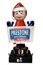 "Interesting 1950s-60s Prestone Anti-Freeze three-dimensional ""Prestone Man"" service station sign - Front 3/4 - 97762"
