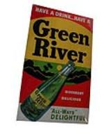 Fabulous 1950s Green River Soda diner cardboard display sign with bottle graphic. - Front 3/4 - 97780