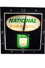 1960s National Rental Car S&H Green Stamps lighted garage clock. - Front 3/4 - 97831