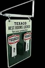 "N.O.S. 1960s Texaco Rest Rooms ""Locked for your Protection"" double-sided tin service station sign - Front 3/4 - 97836"