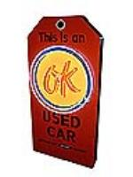 Custom made OK Used Cars single-sided dealership tag sign. - Front 3/4 - 97872
