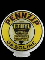 Striking Pennzip Gasoline milk glass gas pump globe with N.O.S. lenses. - Front 3/4 - 97930